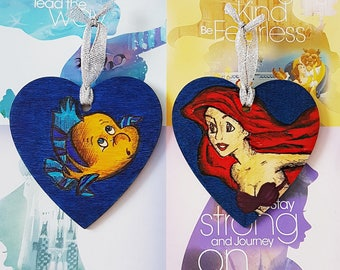 Hand Drawn Christmas Ornaments Ariel & Flounder Set Of 2 Plaques / Hanging Decorations / Baubles - Disney Inspired