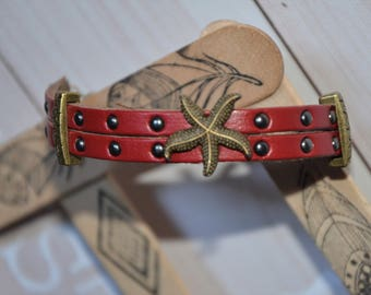 red leather strap bracelet, star fish