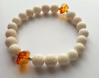 bracelet amber coral silver 925