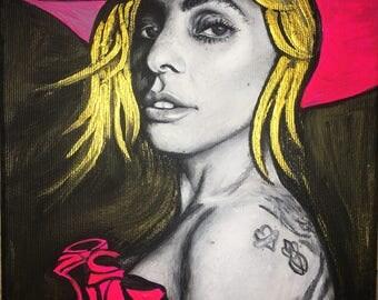 Lady Gaga - original acrylic painting on canvas - portrait