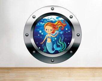 Q610 Cartoon Mermaid Water Kids Sea Window Wall Decal 3D Art Stickers Vinyl Room