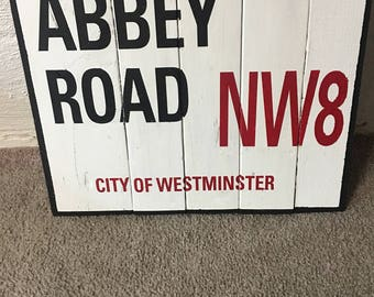 Abbey Road wooden sign