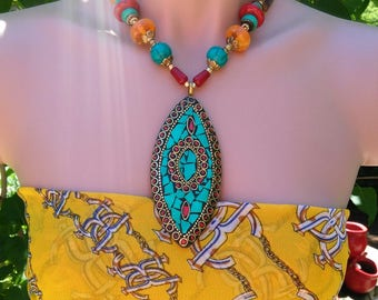 Statement Handcrafted Beaded Pendant Necklace- pendant Necklace_ Blue Turquoise look Necklace_ Tribal Necklace_ Blue pendant Necklace