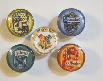 "1.5"" Harry Potter Refrigerator Magnets House and Hogwarts Crest"