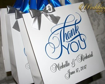 Thank You wedding gift bags with satin ribbon, bow and your tag, Elegant wedding bags, wedding favor bags, welcome wedding bags, party bags
