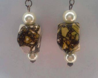 White and Mixed Brown earrings