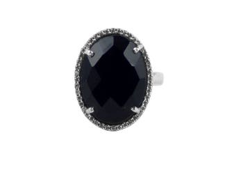 SBRG-057   925 Sterling Silver  Black Onyx Ring Surrounded With CZ