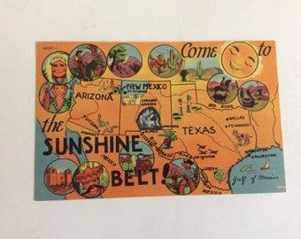1940s Southwestern U S Map Postcard Come To The Sunshine Belt Texas Az Nm Linen