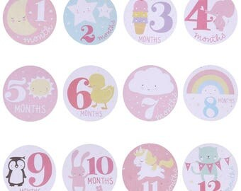 12PCS Decoration DIY Craft Baby Girl Month Stickers decorative stickers