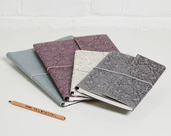 100% recycled gold and pewter paisley design a5 notebook