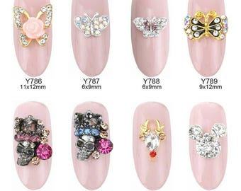 10pcs Glitters strass ongles butterfly nail art flowers rhinestone gems stone reindeer crown skull decorations jewelry Y786~793