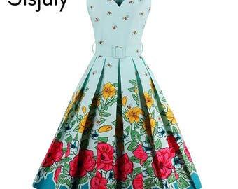 Beautiful 1950 Style Dress Size XL Floral Print NWT