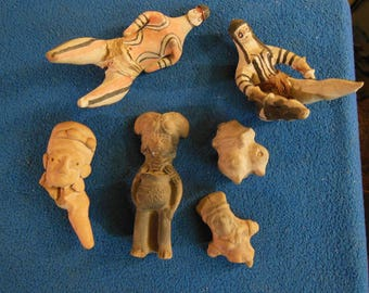 Lot of Precolumbian Pottery-Polychrome-other-Ancient Effigy Figures