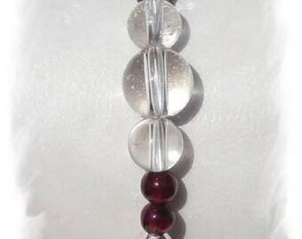 Bracelet Garnet, Moonstone, quartz and Sterling Silver 925