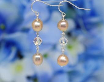 rose gold pearl earrings, clear quartz drop, faceted quartz, baroque pearl earrings, sterling silver