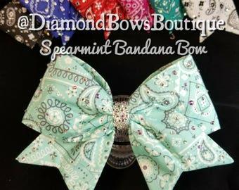 Spearmint Bandana Cheer Bow