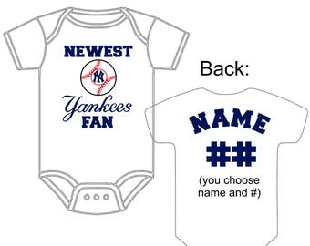Gerber onesie etsy newest new york yankees fan custom made and personalized baseball gerber onesie jersey you choose name negle Images