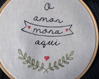 Embroidery wall art love lives here, handmade embroidery art hoop