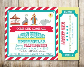 Circus Birthday Invitation - Digital Invitation