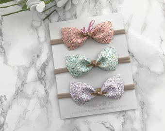 Spring Glitter Bow Set, Petite Baby Bow, Suede Bow, Baby Headband, Nylon Band, Soft Hair Bow, Newborn Bows