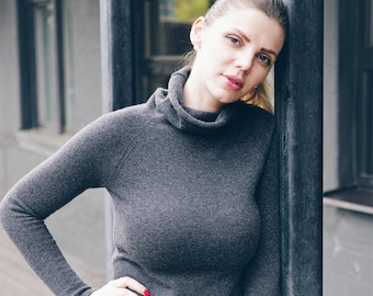 Turtleneck, sweater, jumper from extra fine merino wool in a nice gray color