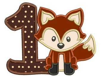Fox 1st Birthday Applique Design 3 sizes for Instant Download