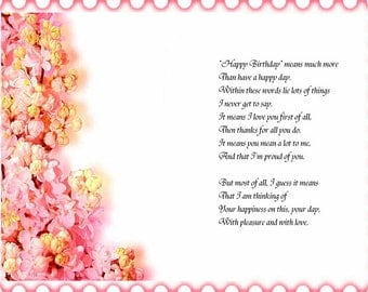 Assorted Floral Edge designs Birthday card inserts with verse