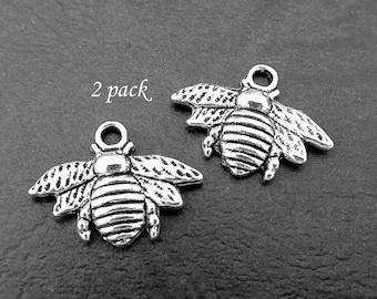 2 Bee Charms, Silver Bee, Bee Jewellery Supplies. 2pc Charms
