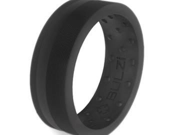 BULZi - Zi2 Massaging Comfort Fit Silicone Wedding Ring - #1 Most Comfortable Wedding Band - Flat Edges with Flexible Work Safety Design