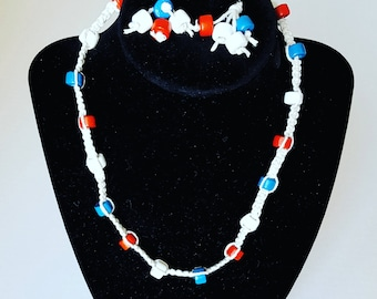 Patriotic Hemp Necklace and Earrings
