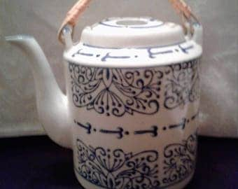Chinoisserie  Vintage Tea Pot with Bamboo Handles