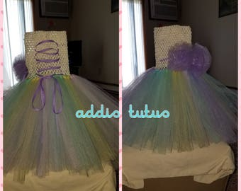 Easter/pastel tutu dress with crochet top (ankle length)
