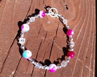 Silver Ice Cube Pastel Pink Bracelet