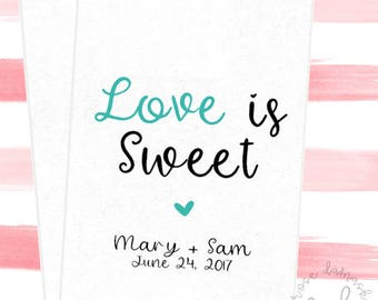 Love is Sweet, Favor Bags, Popcorn Bags, Wedding Candy Buffet, Candy Bags, Buffet Bags, Cookie Bags, Wedding Favors, RD60