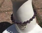 Om bracelet - amethyst bracelet - yoga bracelet - Amethyst Chakra - Chakra jewelry