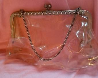 Clear Vintage Kiss Lock Handbag Purse
