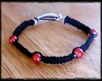 Black Hemp Bracelet with Red Beads