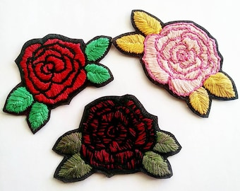 Handmade and Handembroidered Rose Patches Sew on and Iron on