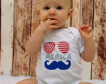 Merica onesie, Merica shirt, infant, toddler, boy, girl, Independence Day, Fourth of July, Merica