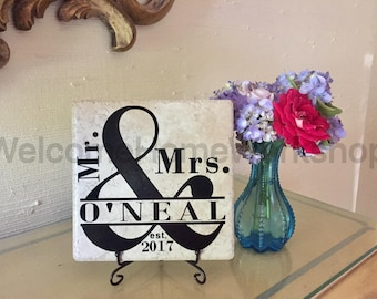 Mr. and Mrs. TILE & EASEL, Housewarming Gift, Engagement Gift, Established Sign, Name Sign, Hostess Gift, Custom Gift, Wedding Gift