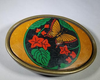 Vintage-BTS- Butterfly-Solid Brass-leather-Inlay-Belt Buckle - Retro-Accessories