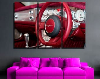 Speedometer canvas Super Car Racing Car Sport car Monster Machine  Red car print