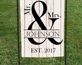 "Personalized Wedding Garden Flag, Mr and Mrs, est. year faux wood background, Black Lettering, great for shower or wedding day, 12""x18"""