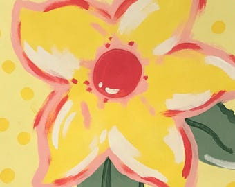 """Summer Flower (hand-painted acrylic on canvas - 14"""" x 11"""") READY TO SHIP"""