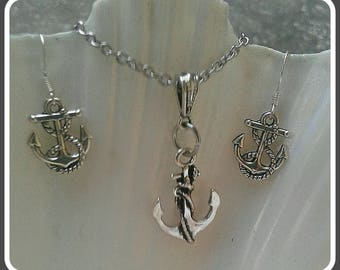 Nautical Jewelry Set Anchor Earrings And Anchor Necklace