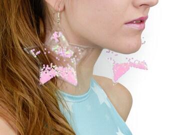 Liquid Glitter Earrings - Star - Bubblegum
