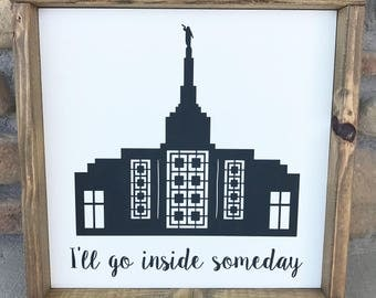 LDS Temple Rustic Chic Home Decor Wall Sign