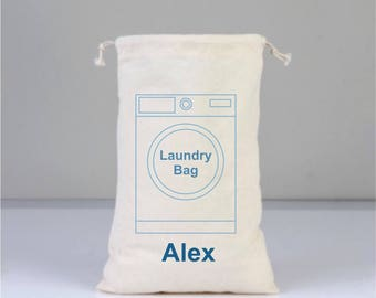 Cotton bags drawstring, Personalized Bag, Laundry Bag, Laundry Sign, Natural Cotton Bags, Home, Laundry, Organic Bags, Blue, Gift Bag