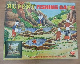 1983 Vintage Rupert Bear magnetic fishing game by charbens