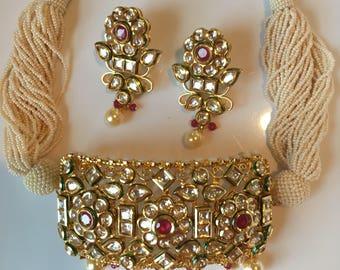kundan choker with earrings - gold finish set